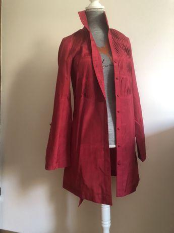 Czerwona koszula tunika jedwabna 38