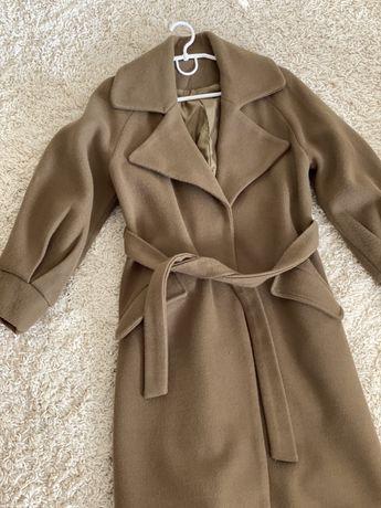 Шикарне жіноче пальто колір хакі оливковий хс-с на поясі
