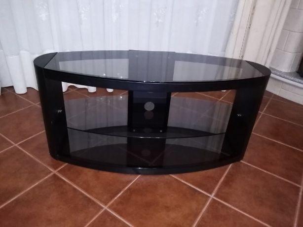 Móvel de televisão de latão e vidro