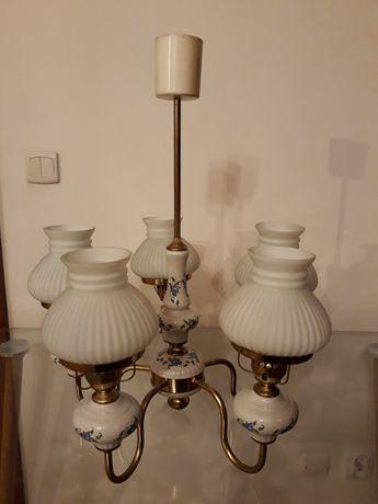 Żyrandol porcelanowy z prl-u
