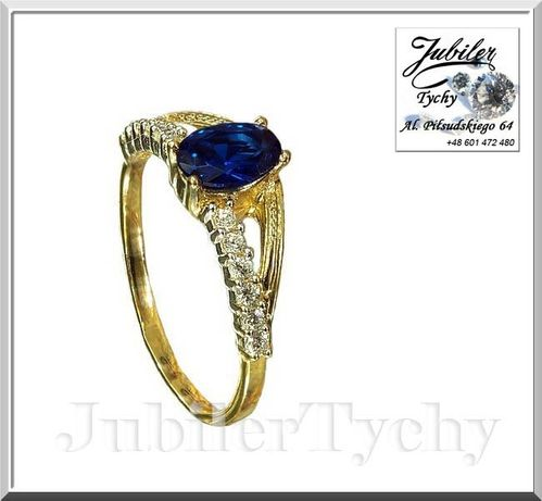 Złoty pierścionek z szafirem (s) + cyrkonie Jubiler Tychy złoto 585