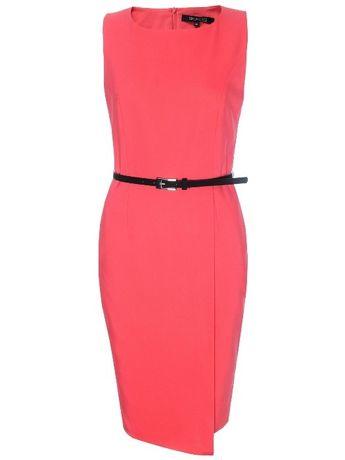 ołówkowa sukienka Top Secret, różowa fuksja kopertowa zakładka