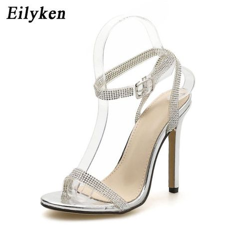 Szpilki sandały srebrne