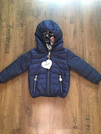Куртка для дівчинки двустороння демі 9-12 міс нова+Подарунок