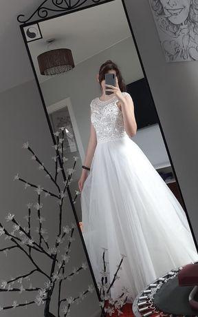 Elegancka Suknia Ślubna GRACJA w kolorze śmiatanowym