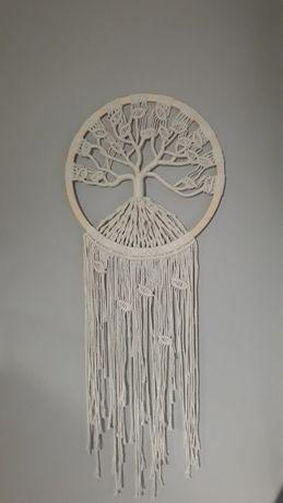 Drzewko-makrama na kole ze sznurka bawełnianego