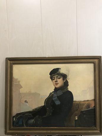 Картина репродукция «Неизвестная» Крамского 1966 г.вып.