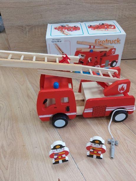Nowy drewniany,edukacyjny wóz strażacki,straż pożarna + 2 ludziki