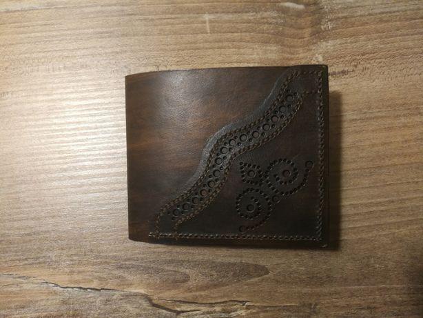 Portfel męski skórzany ręcznie robiony skóra konopie