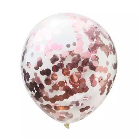 Balon z różowym konfetti na hel