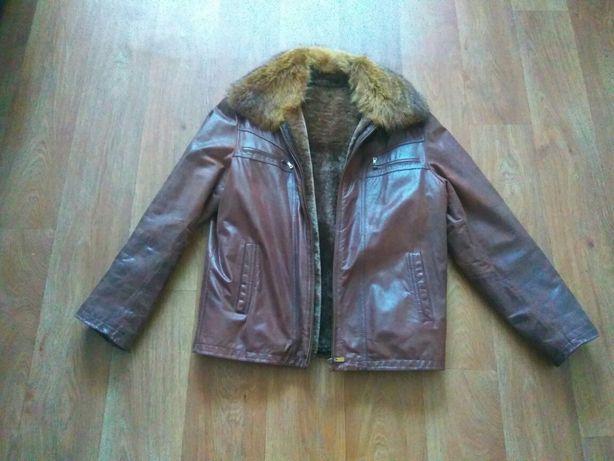 Кожанная зимняя куртка 48 размера