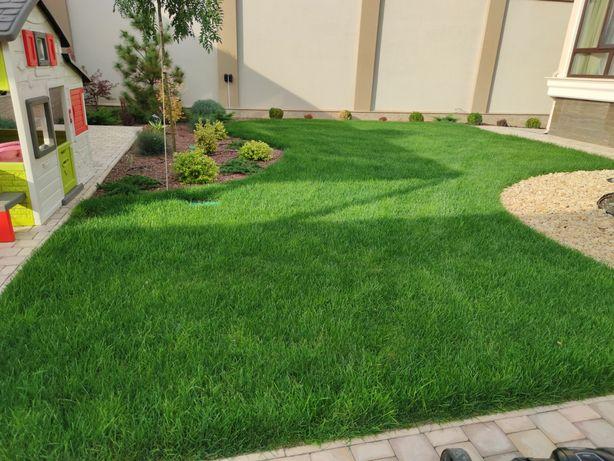Рулонный газон, покос газона, посевной газон, автополив