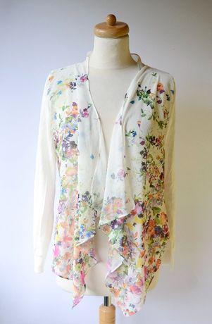 Sweter Narzutka Kwiaty M 38 Yumidirect Nowy Biały Kwiatki Zara H&M