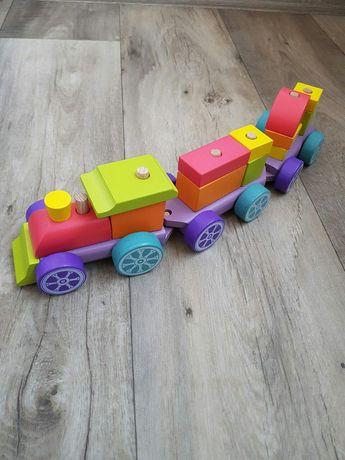 Деревянный поезд, конструктор из дерева паровоз cubika