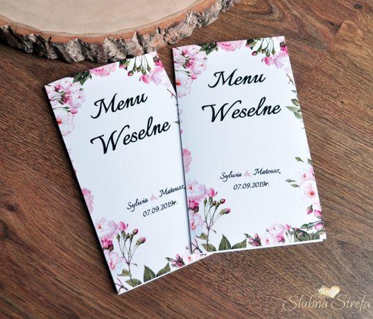 Menu weselne menu na wesele pudrowy jasny róż