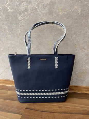 Новая кожаная сумка темно синяя zara mango bulaggi