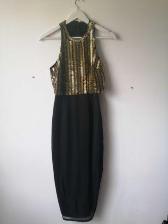 Czarna sukienka Asos cekiny złoto wesele chrzciny S glamour