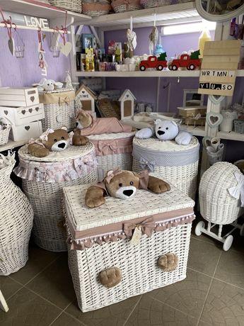 Корзина плетеная из натуральной лозы для игрушек , коляска, комод