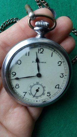Карманные часы 2 часовой завод 1940г механика на ходу отличный сохран