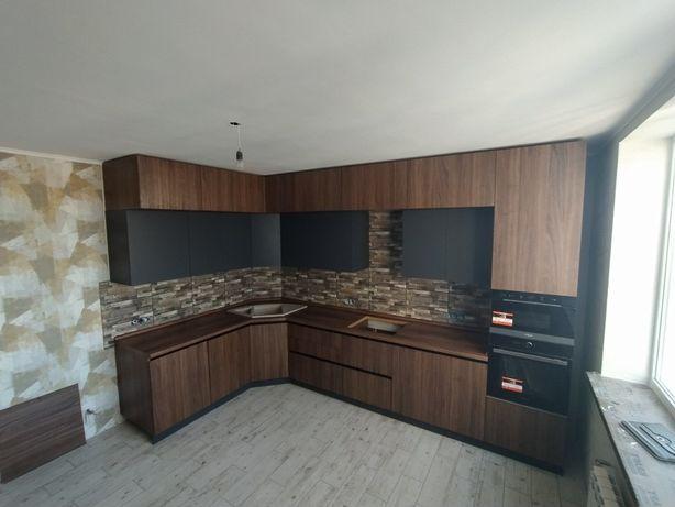 Угловая Кухня до потолка • Кухня Киев • Кухня без ручек • Рассрочка!