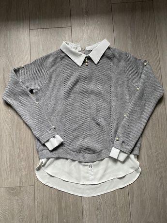 Sweter  ocieplany z koszulą koraliki M