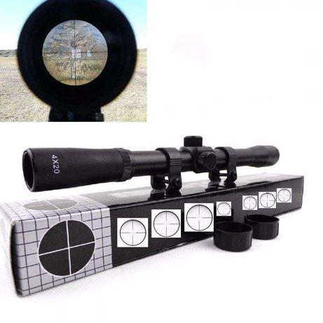 mira telescopica universal - arma pressão ar, airsoft, paintball -nova