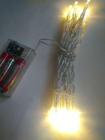 гирлянда на батарейках теплый свет
