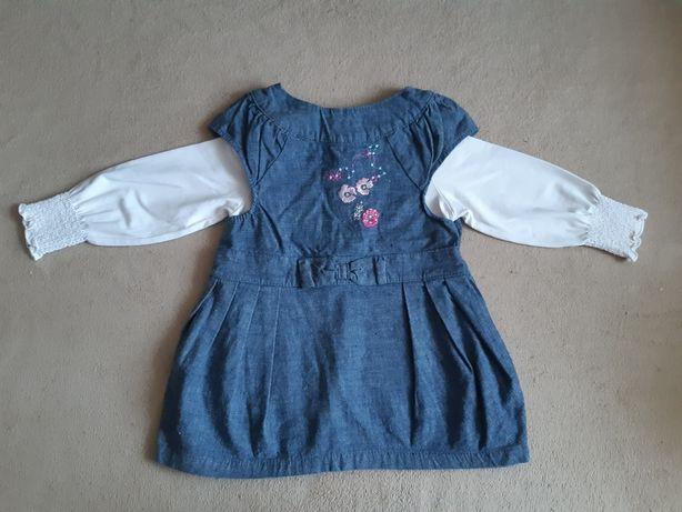 Komplet, komplecik. Sukienka + bluzka dla dziewczynki 74