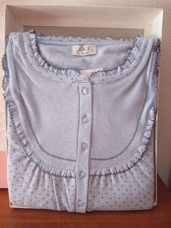 Camisa de dormir Azul às flores de Inverno de Manga Comprida Cardada