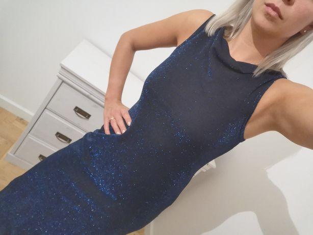 Granatowa sukienka r.34/r.36 nitka brokat
