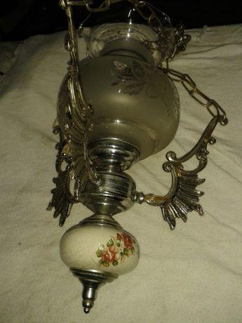 Candeeiro nr.3-vintage de tecto em liga metálica,vidro,porcelana C.OF