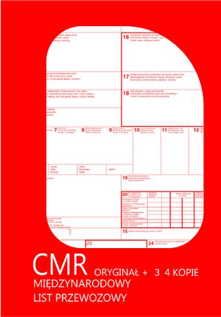 CMR- Międzynarodowy list - 1+3, 1+4 ( 100 kartek) - LOGO + GRATIS