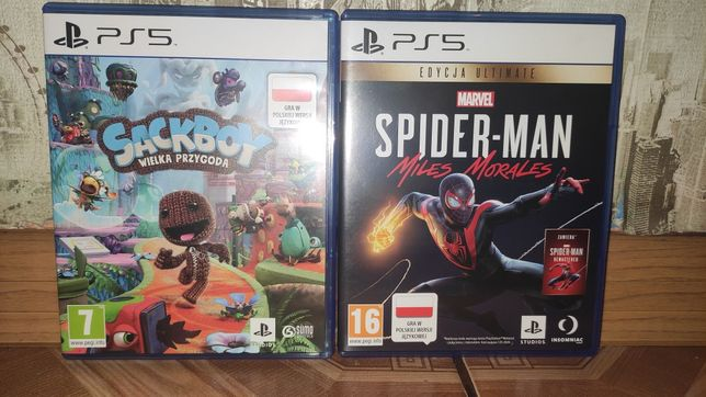 Sackboy wielka przygoda ps5oraz Spiderman Miles ps5morales ew zamiana