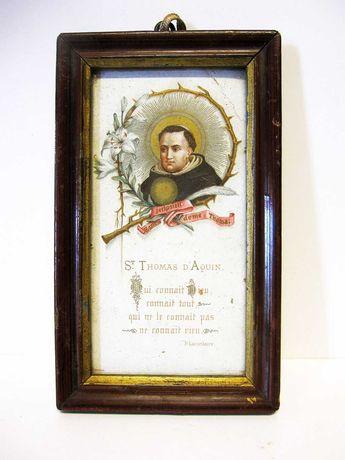 antigo registo francês de Saint Thomas D Aquin com moldura