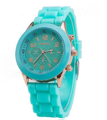 Стильные женские часы Geneva силиконовый ремешок (Разные цвета)
