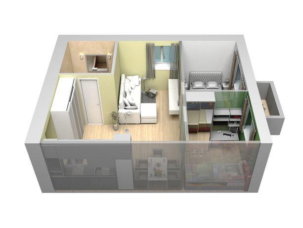 Однокомнатная квартира в новом доме. 33,5м2.