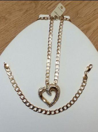 """Złoty (14k) naszyjnik """"Diamentowe Serce"""" od Swarovskiego;"""
