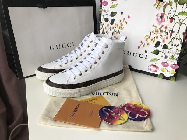 Louis Vuitton białe wysokie trampki skóra nat monogramy od ręki 40
