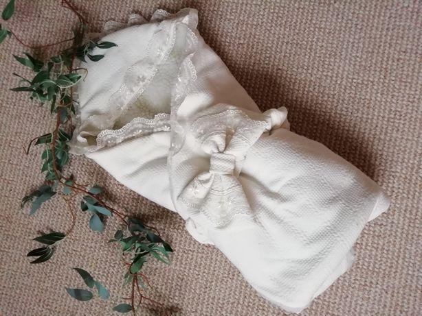 Кружевной конверт на выписку) тёплое одеялко на овчинке