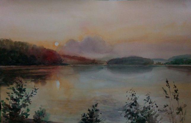 Картина Акварель - Вечерняя тишина над рекой - художник Оксана Шашкова