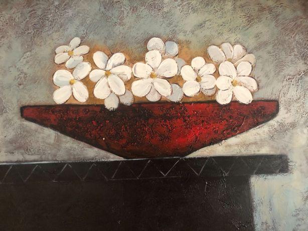 NOVO - Quadro em tela canvas, motivo taça com flores