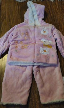 Komplet zimowy spodnie kurtka ocieplane 74