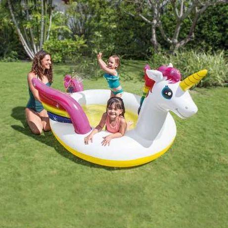 """Детский надувной бассейн """"единорог"""" с фонтаном, Дитячий басейн Intex"""
