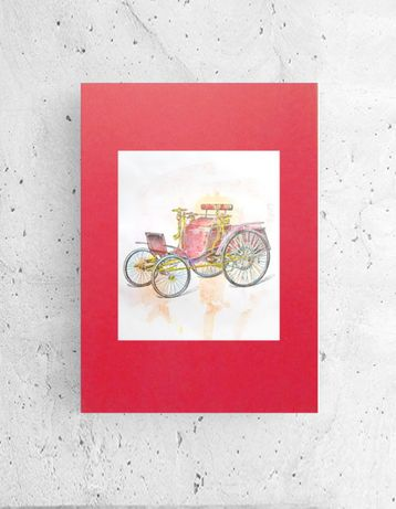 czerwony plakat 30x40, retro grafika na ścianę, grafika do przedpokoju