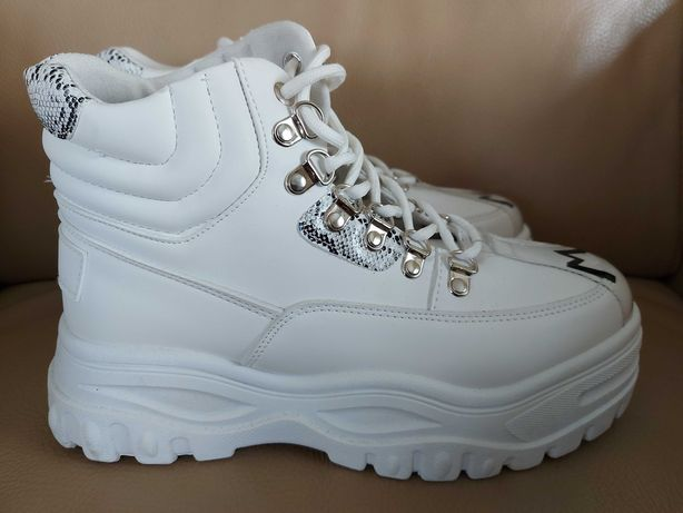 Białe buty sportowe z wysoką cholewką Jean