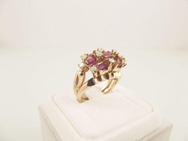 pierścionek złoto brylanty 0,40 karata rubiny - 8,68 g