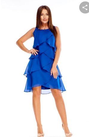 Sukienka Bella chabrowa z falbankami