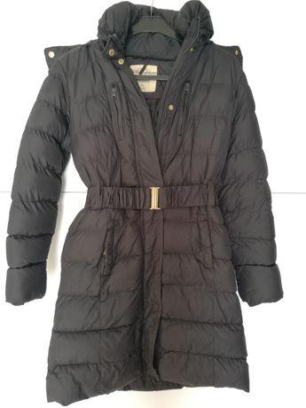 Kurtka, płaszcz, płaszczyk czarny z kapturem, ciepły