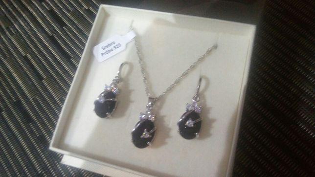 Zestaw srebnej biżuterii z czarną cyrkonią 925