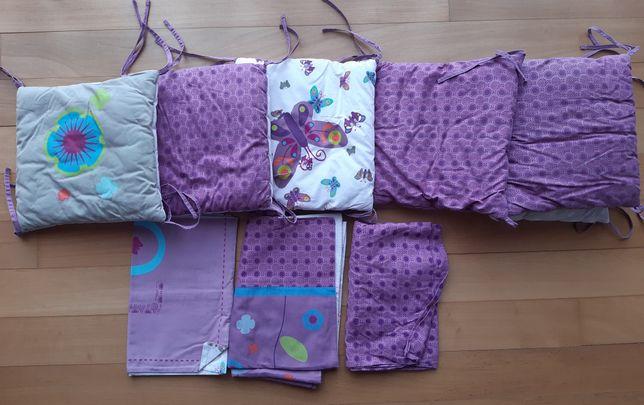 Contorno de berco + capa de edredon + lençol ajustavel + almofada